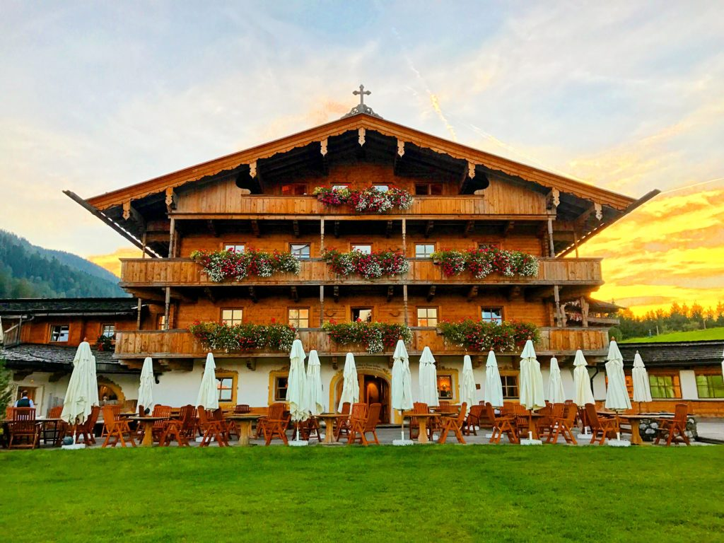 Typical alpine architecture. This is one of the restaurants at Stanglwirt