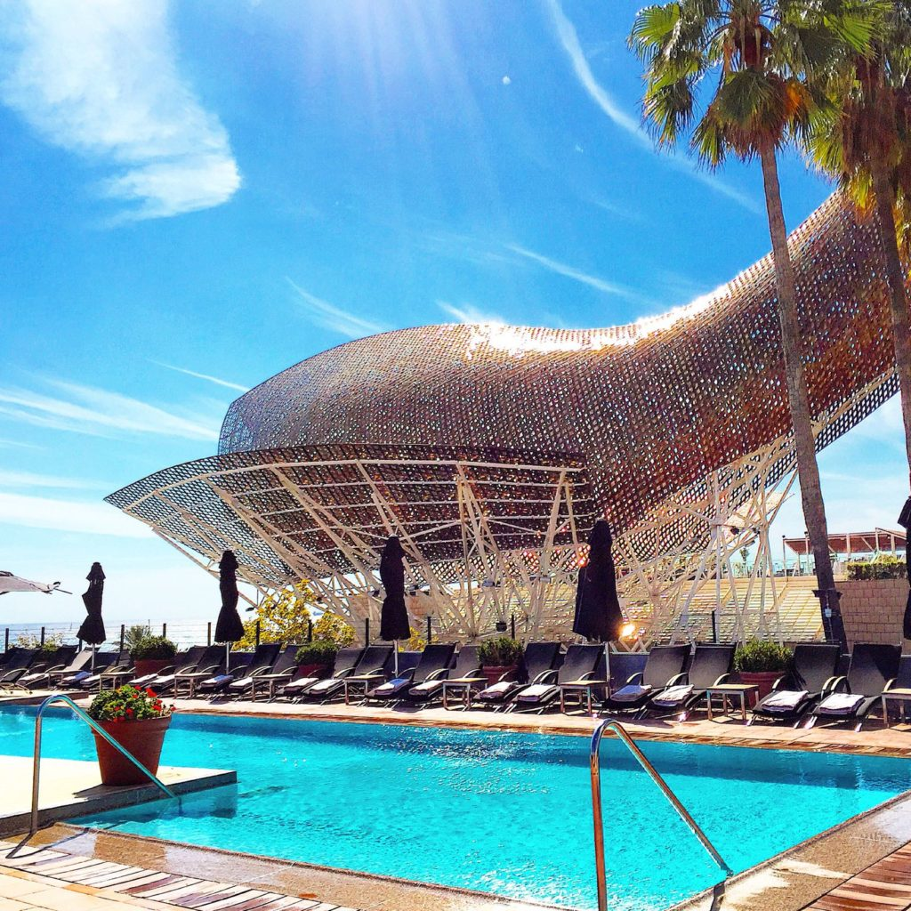 """El Peix"", by Frank Gehry. View from the pool at Hotel Arts"