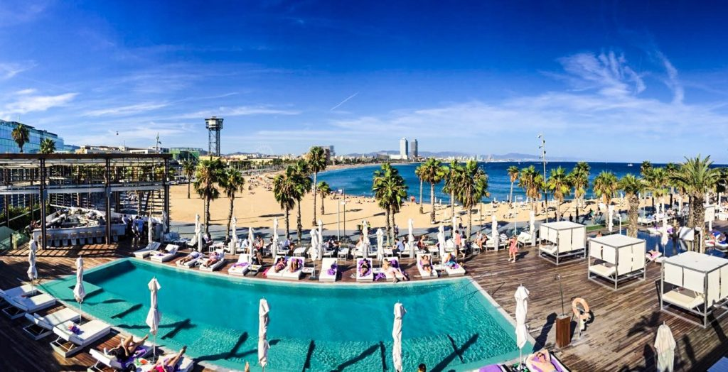 W hotel pool with a panoramic view to the Mediterranean Sea