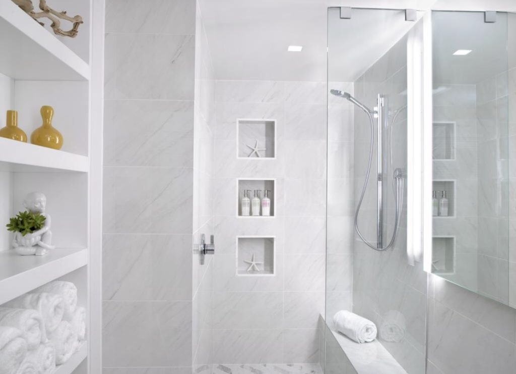 All white marble bathroom