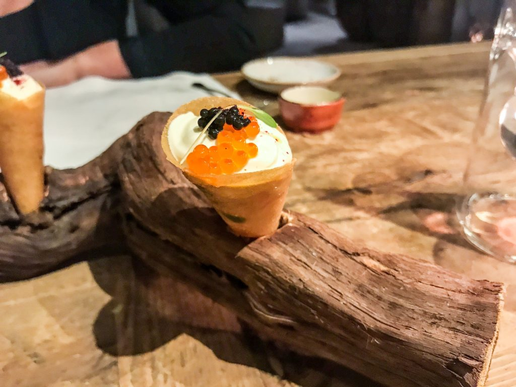 Cream cheese and salmon caviar